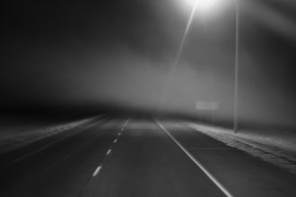 Highway night fog