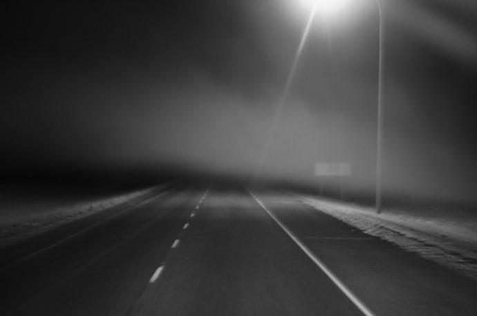 Highway night fog